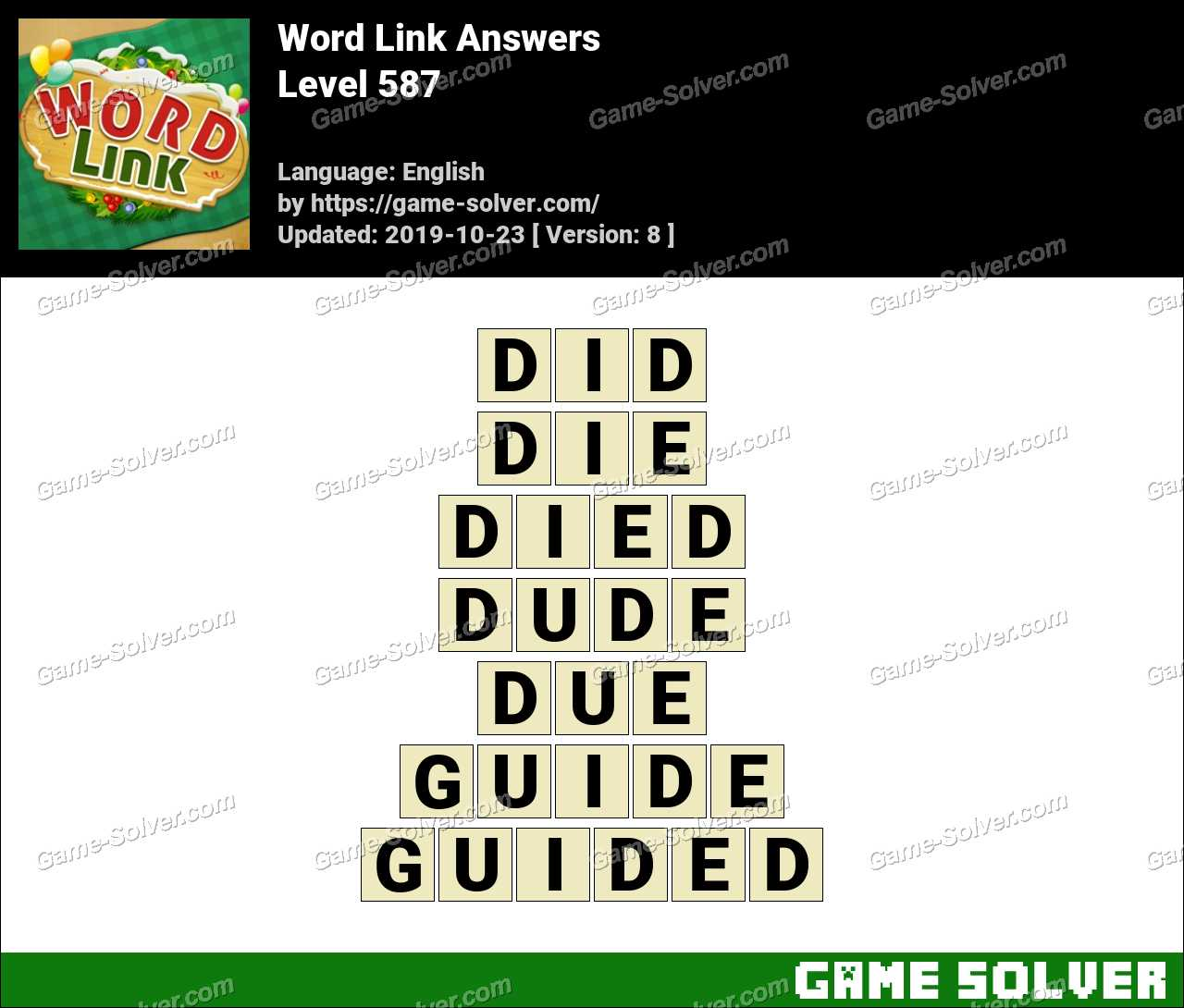 Word Link Level 587 Answers