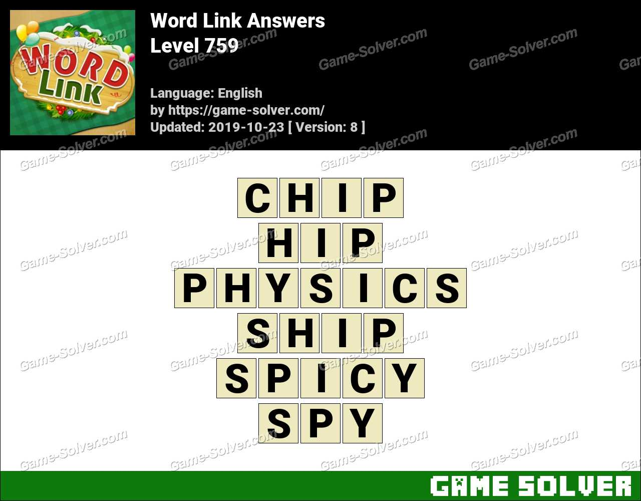Word Link Level 759 Answers