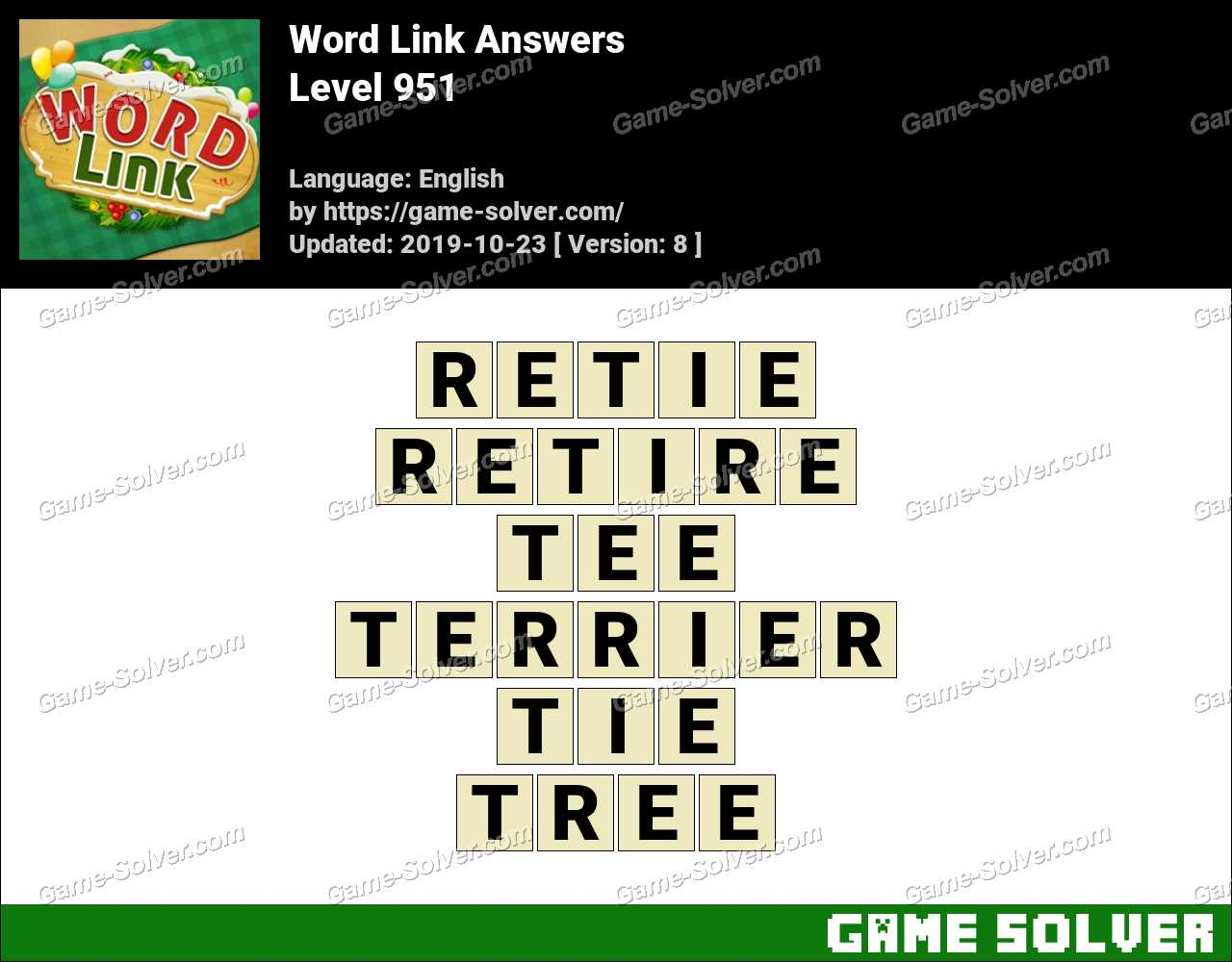 Word Link Level 951 Answers