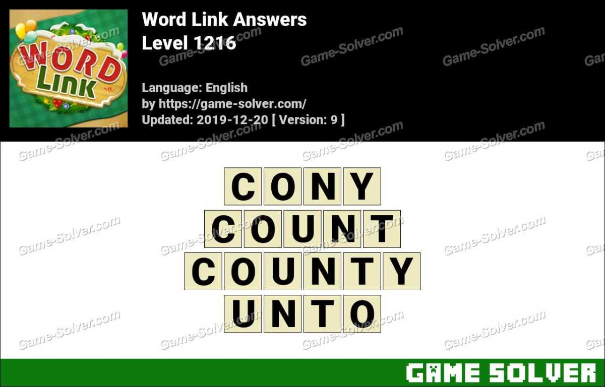 Word Link Level 1216 Answers