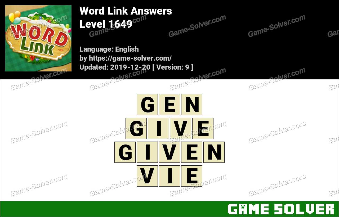 Word Link Level 1649 Answers