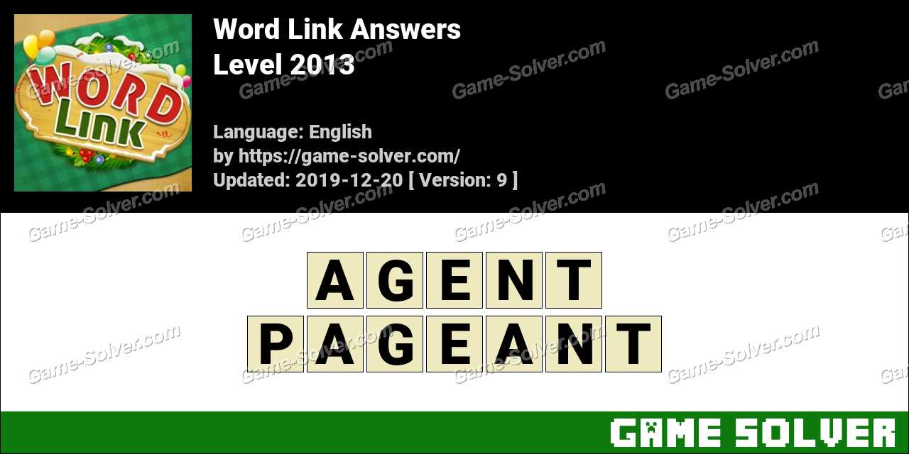 Word Link Level 2013 Answers
