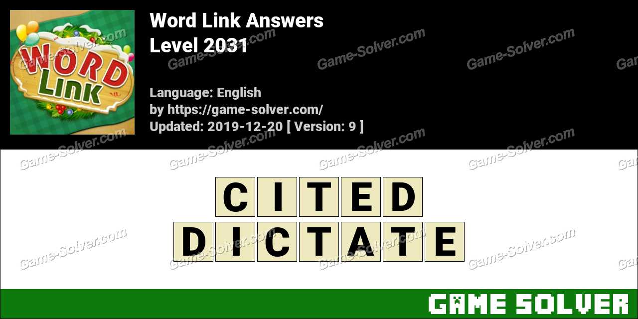 Word Link Level 2031 Answers