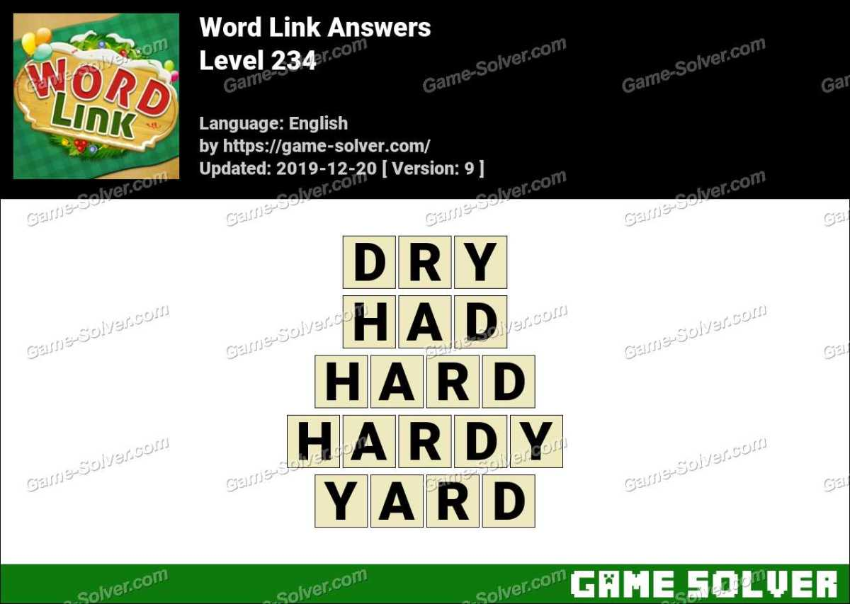 Word Link Level 234 Answers