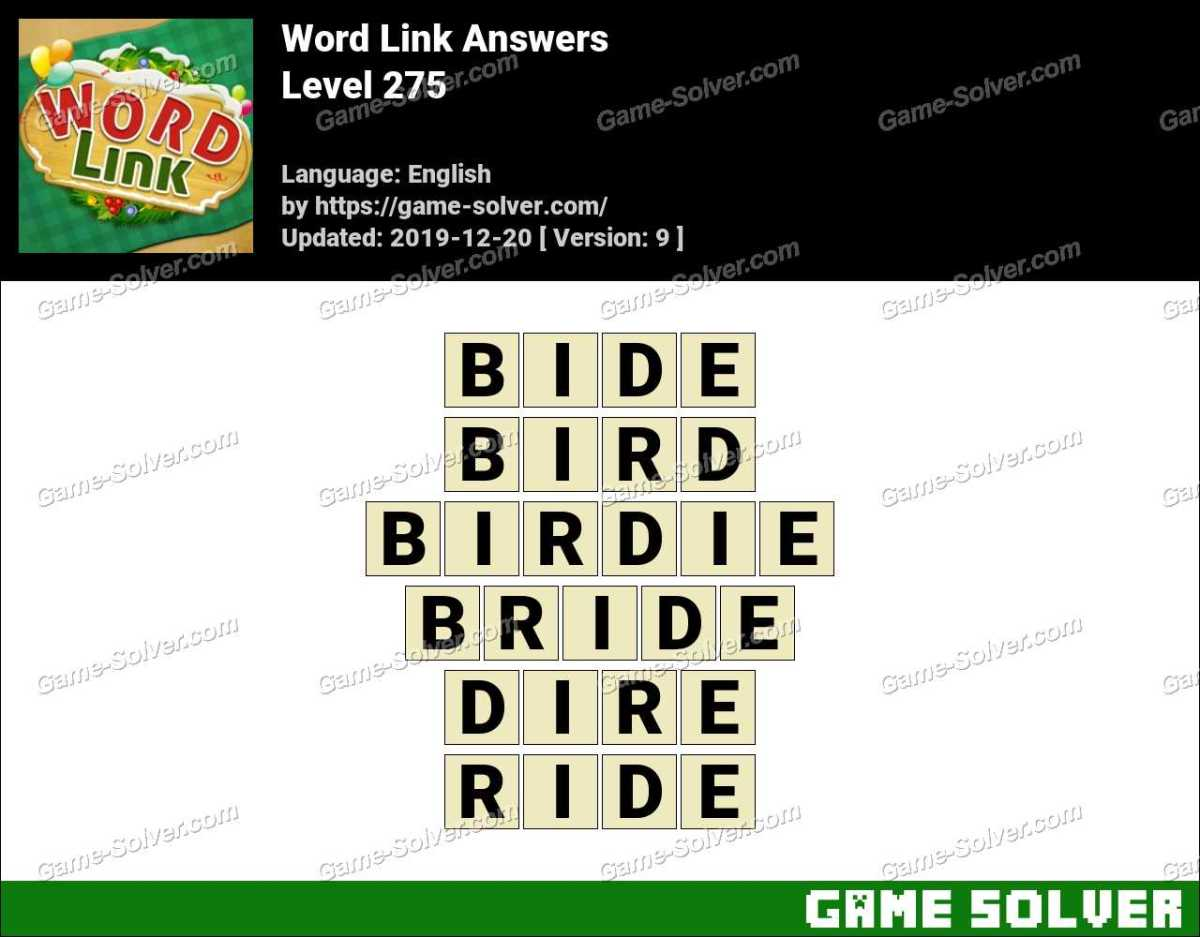 Word Link Level 275 Answers