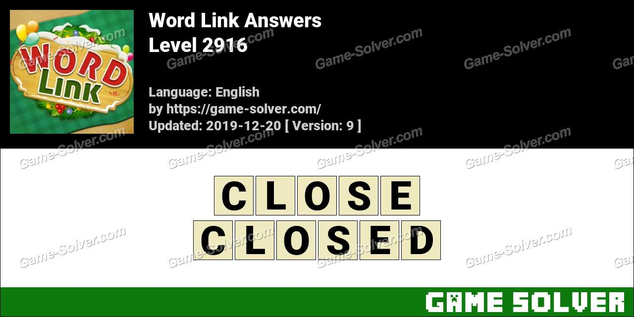 Word Link Level 2916 Answers