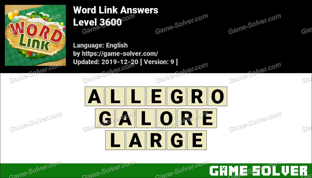 Word Link Level 3600 Answers