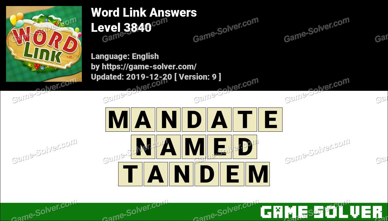 Word Link Level 3840 Answers