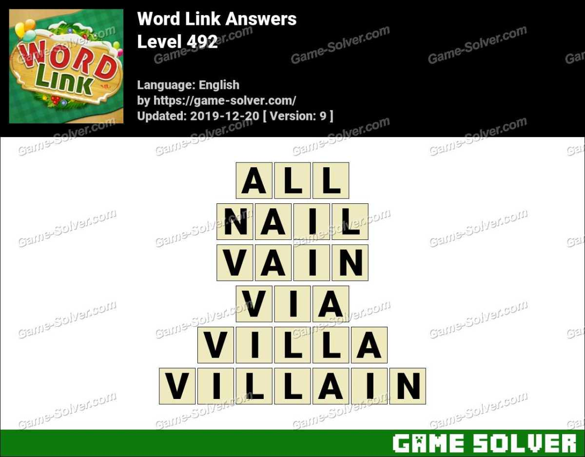 Word Link Level 492 Answers