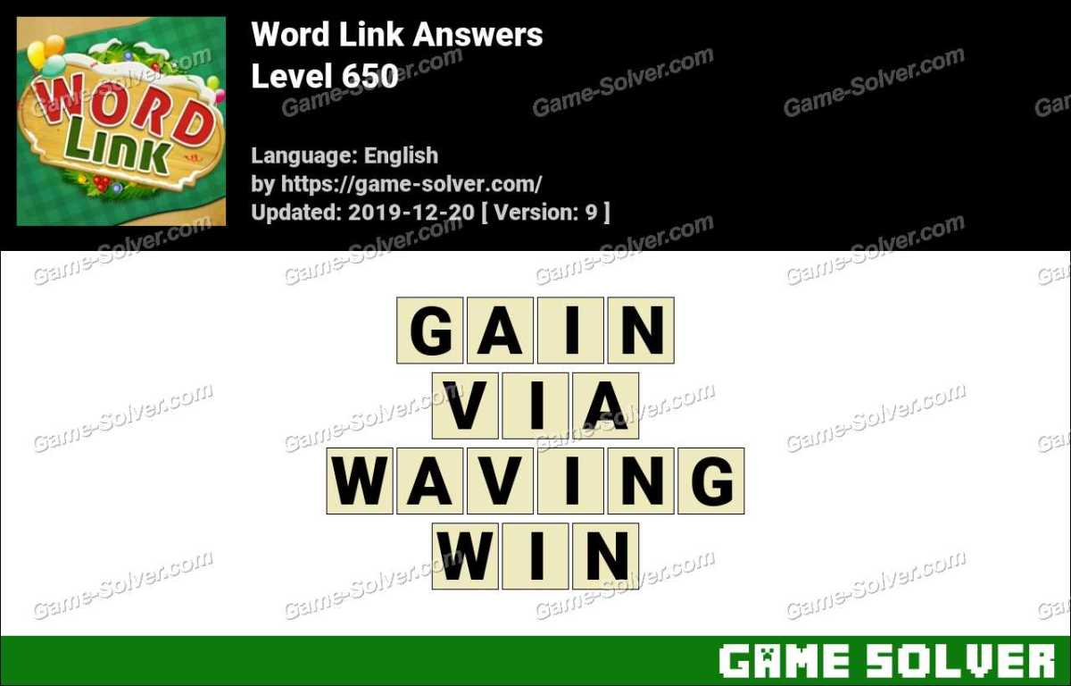 Word Link Level 650 Answers