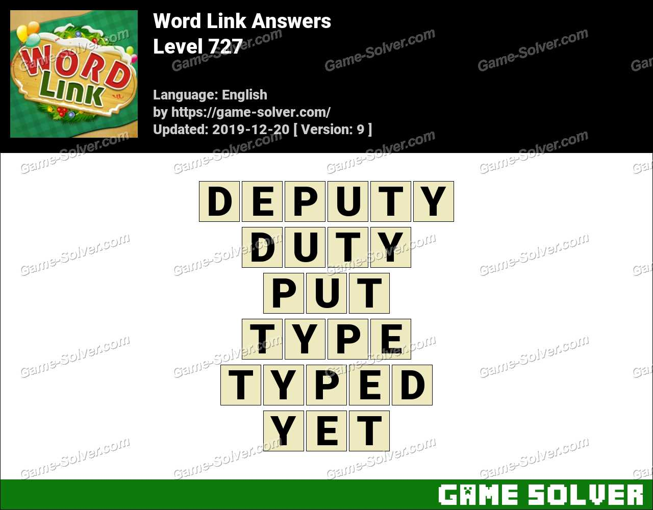 Word Link Level 727 Answers