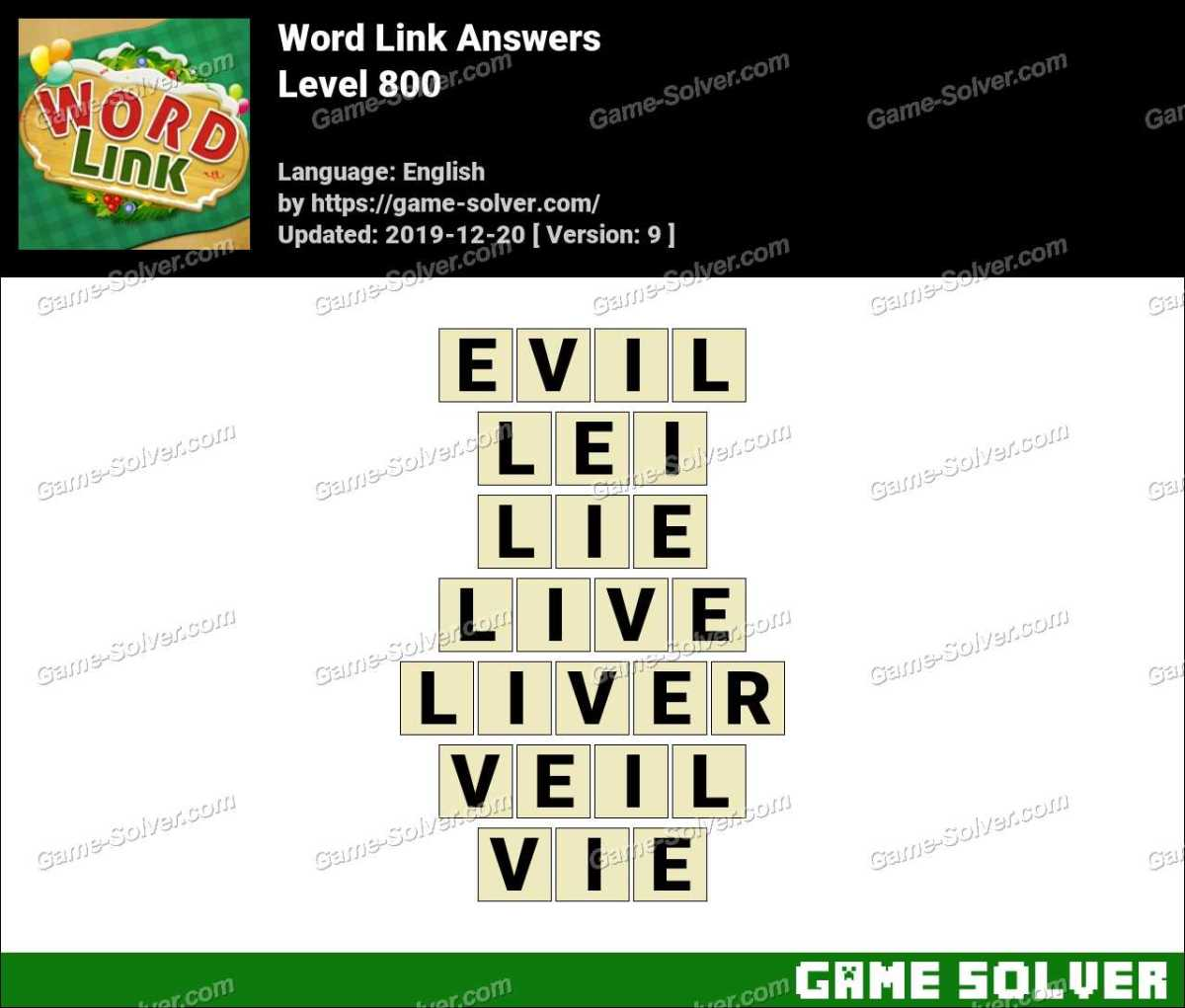 Word Link Level 800 Answers