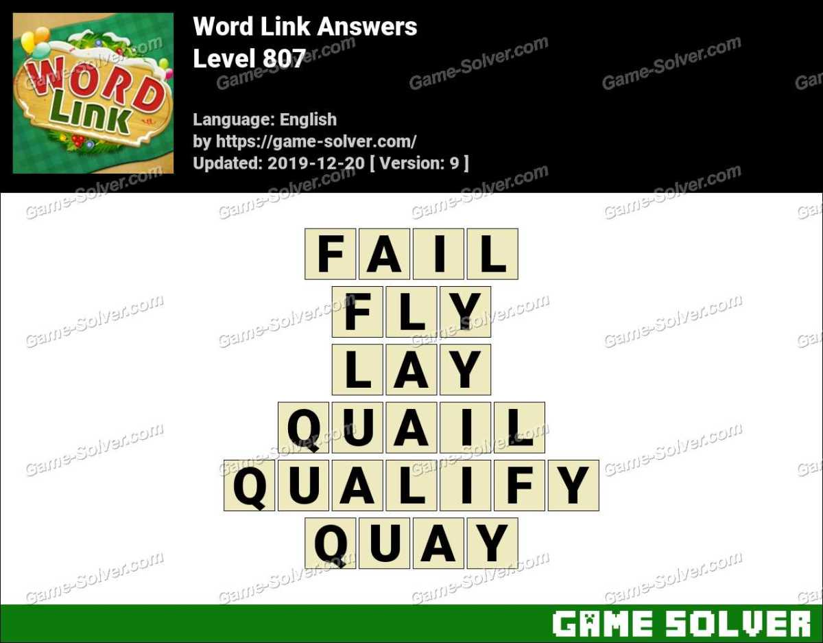 Word Link Level 807 Answers