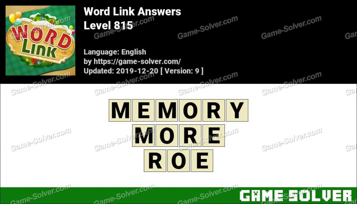 Word Link Level 815 Answers