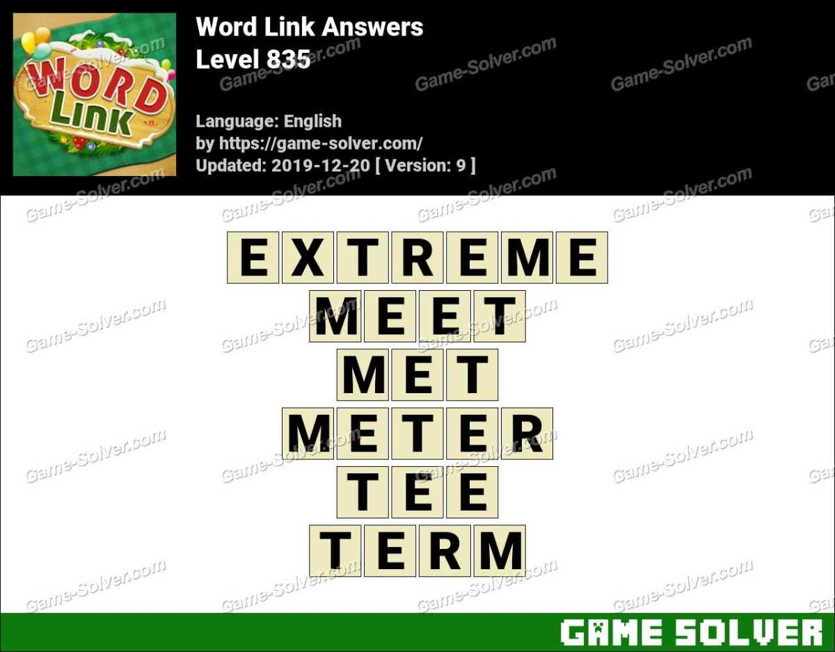Word Link Level 835 Answers
