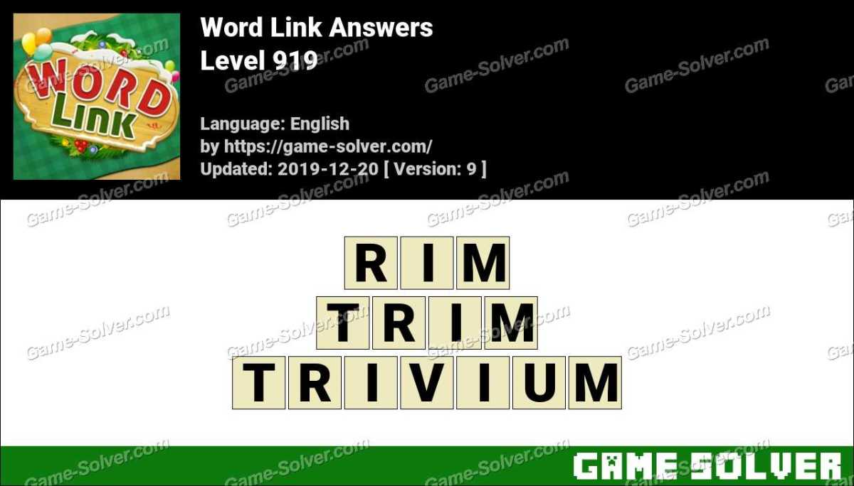 Word Link Level 919 Answers