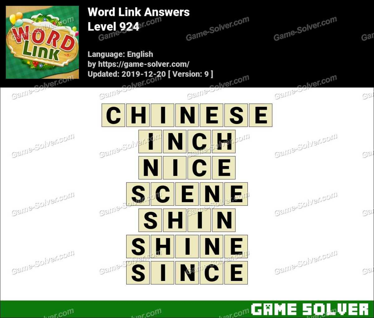 Word Link Level 924 Answers