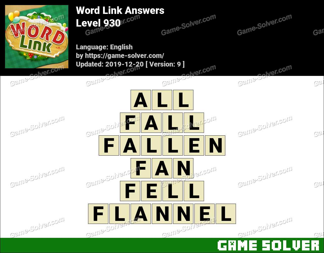 Word Link Level 930 Answers