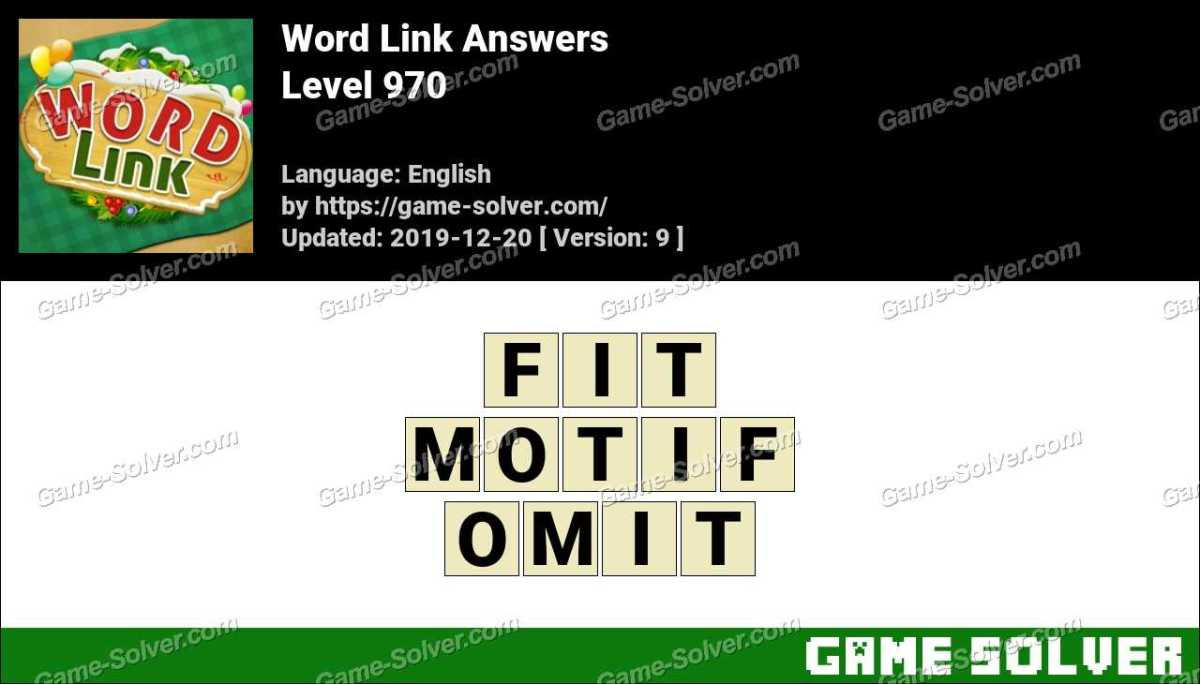 Word Link Level 970 Answers
