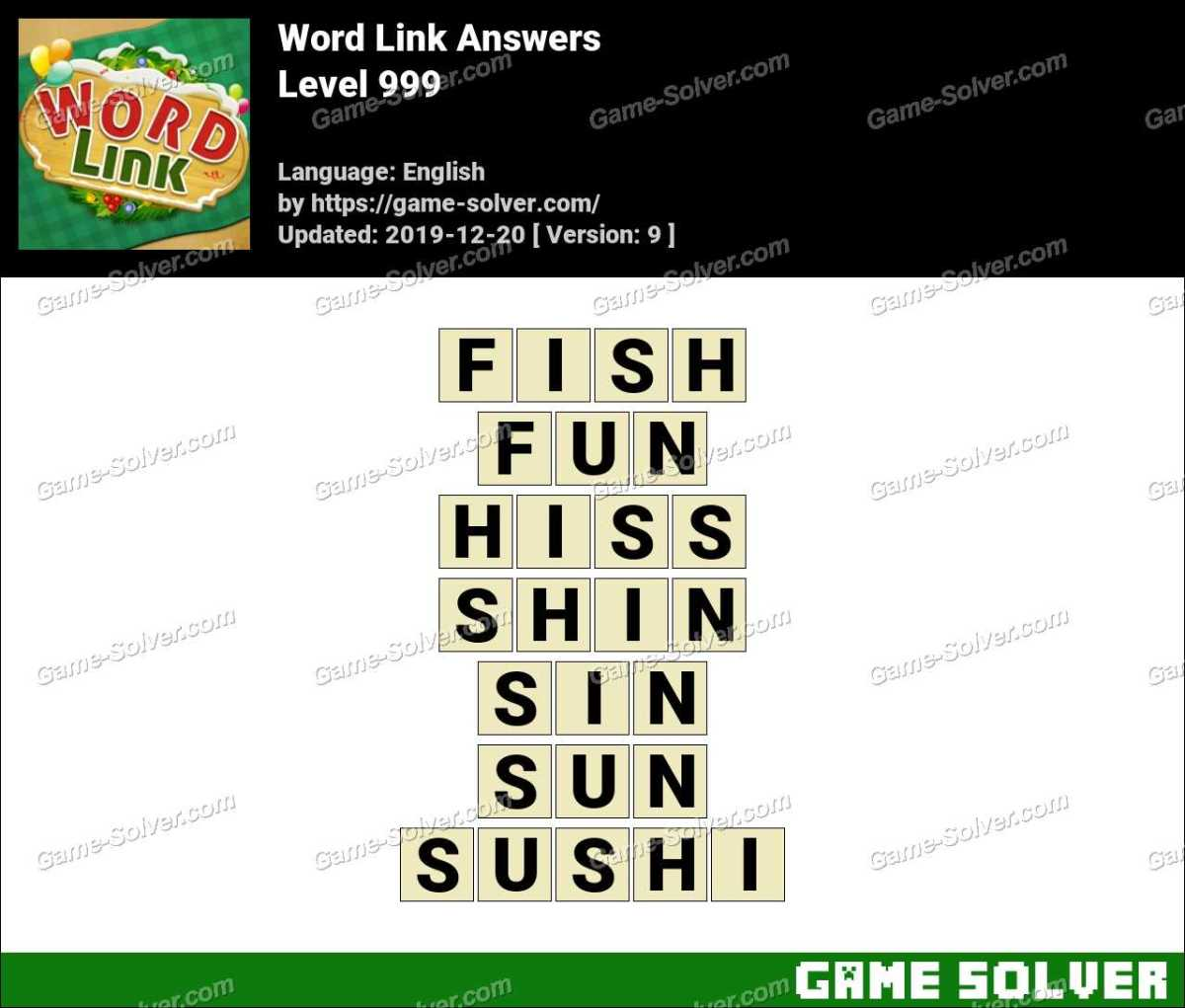 Word Link Level 999 Answers