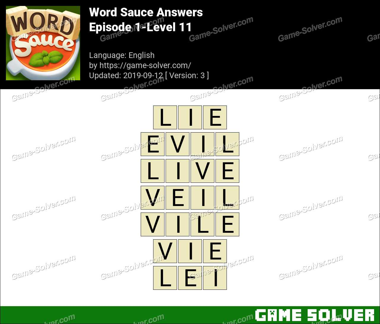 Word Sauce Episode 1-Level 11 Answers