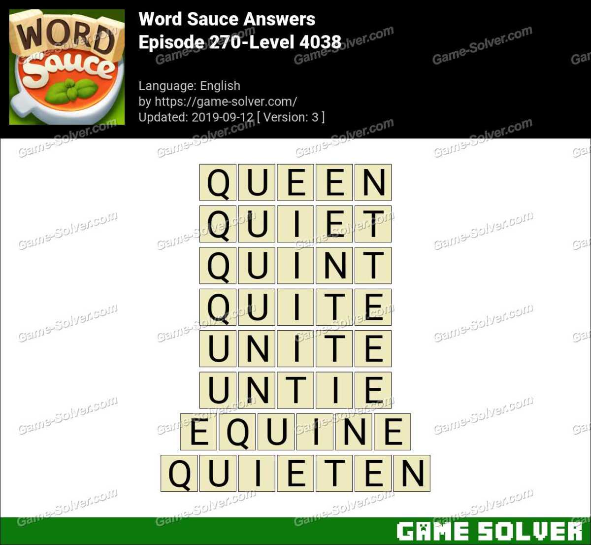 Word Sauce Episode 270-Level 4038 Answers