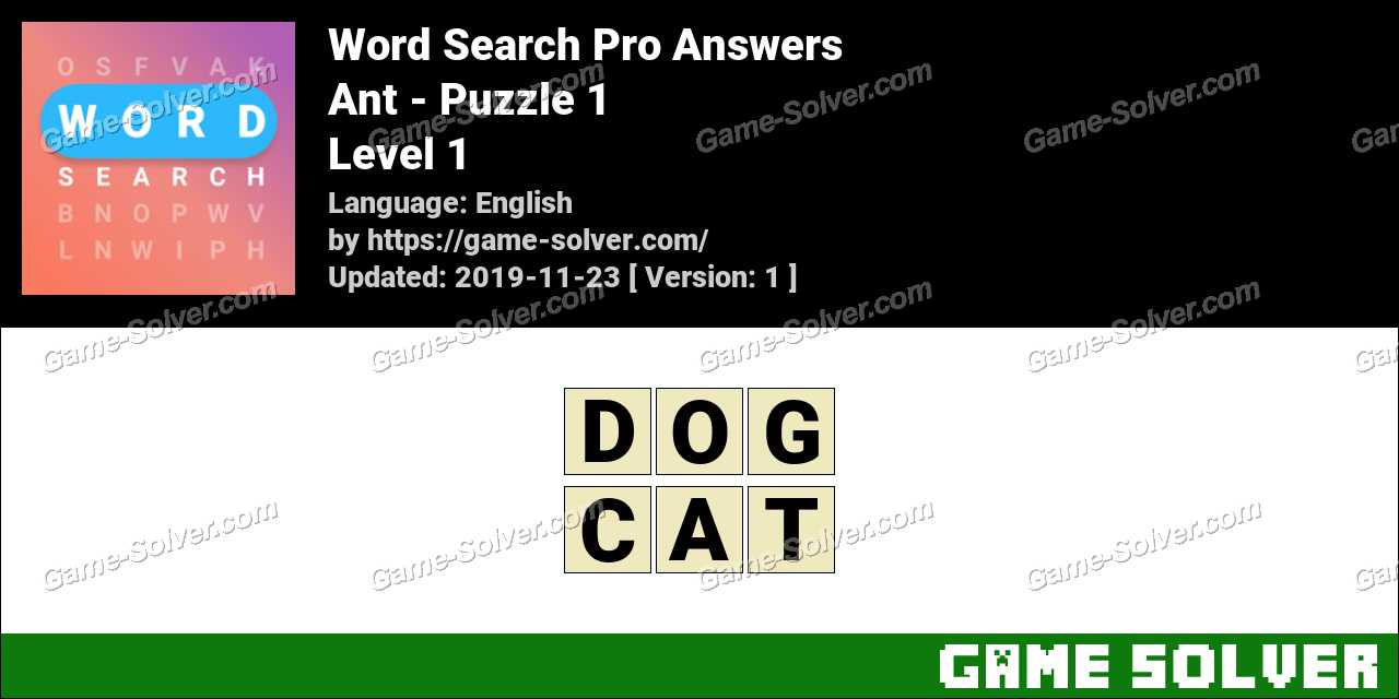 Word Search Pro Ant -Puzzle 1 Answers