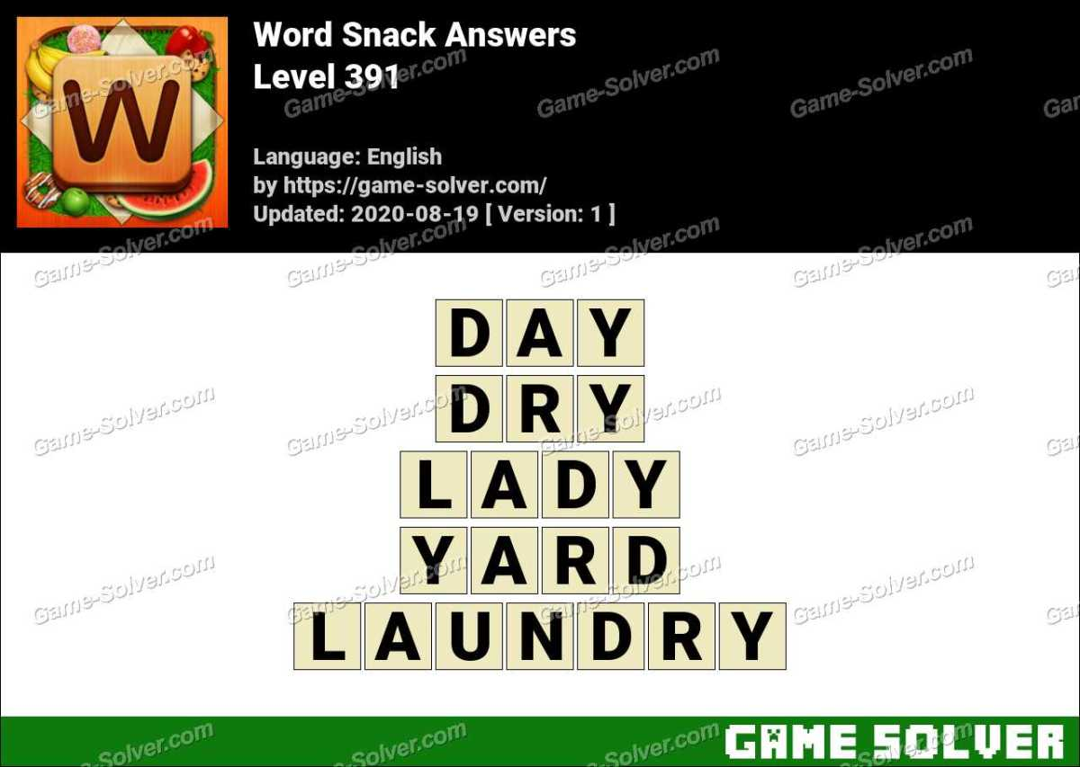 Word Snack Level 391 Answers