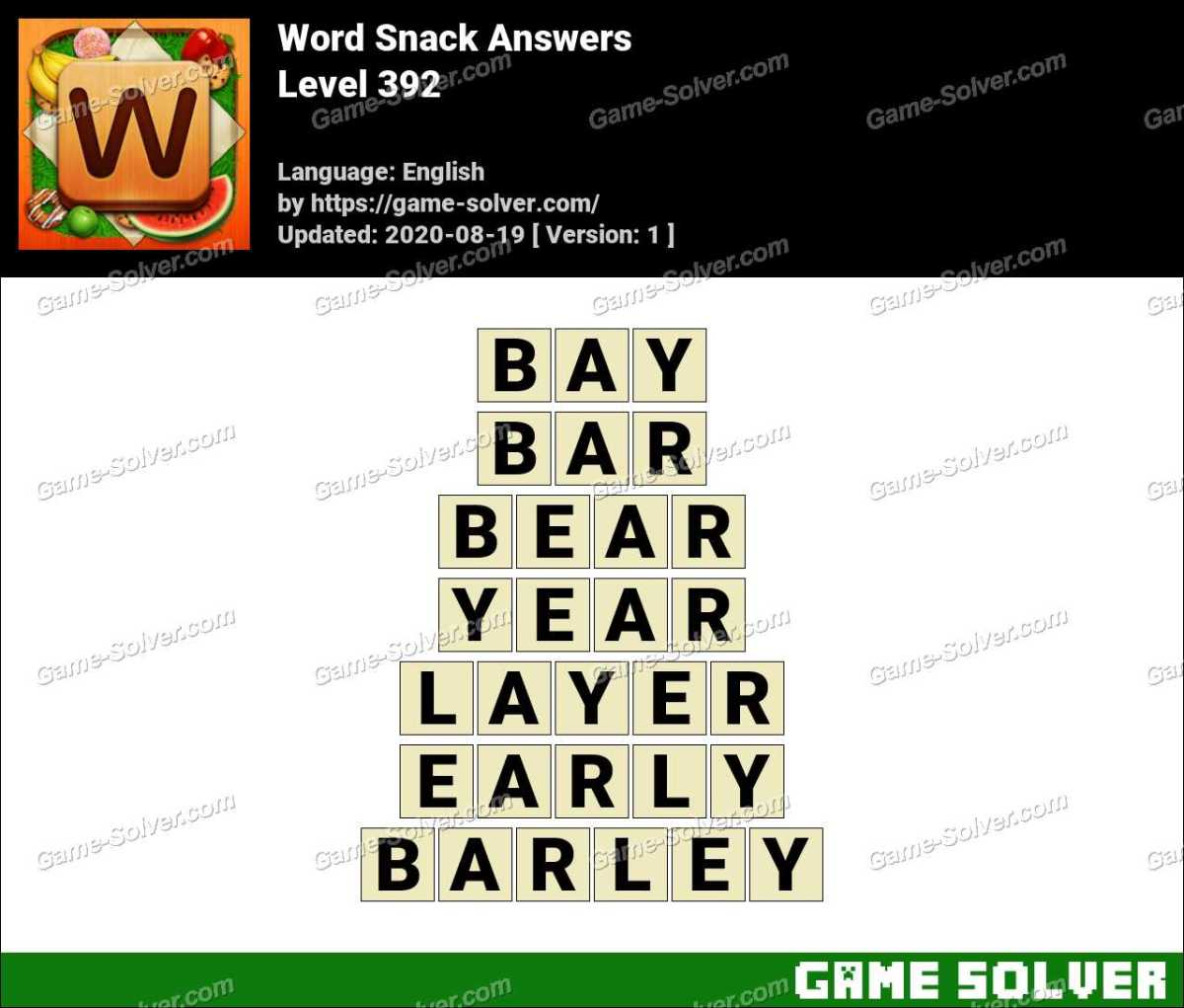 Word Snack Level 392 Answers