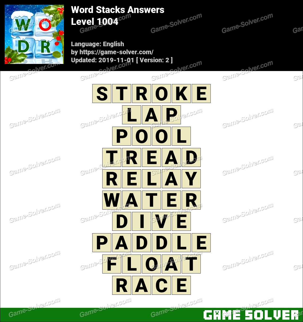Word Stacks Level 1004 Answers