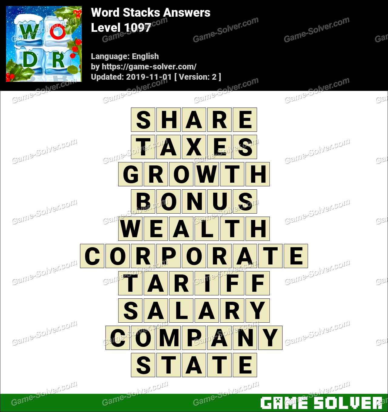 Word Stacks Level 1097 Answers