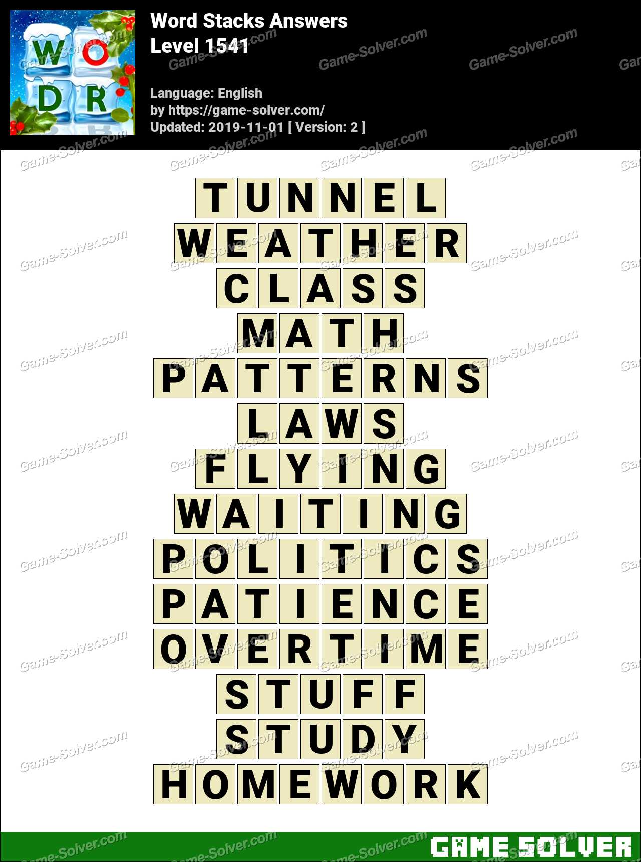 Word Stacks Level 1541 Answers