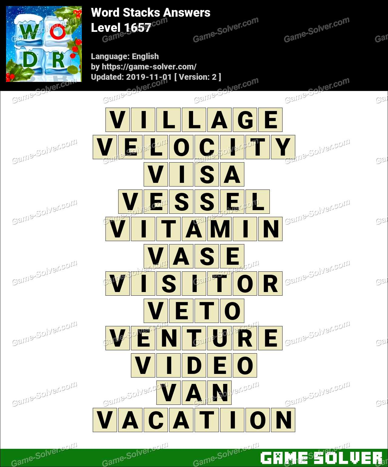 Word Stacks Level 1657 Answers