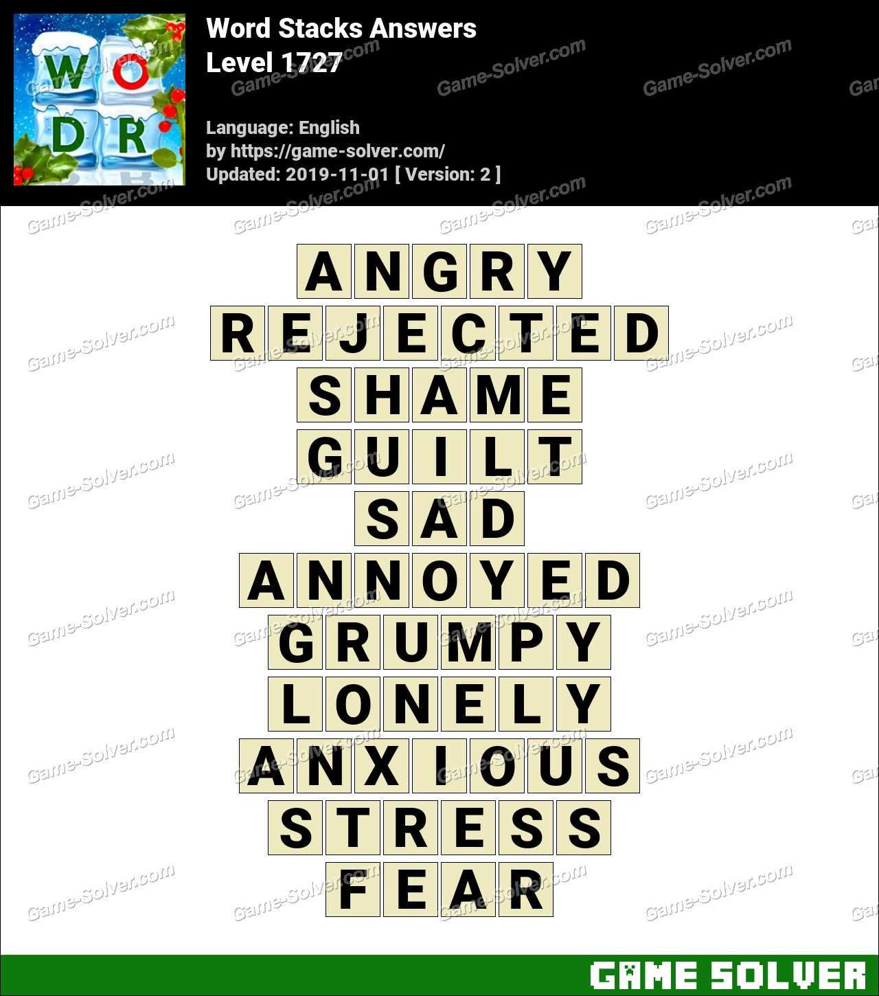 Word Stacks Level 1727 Answers