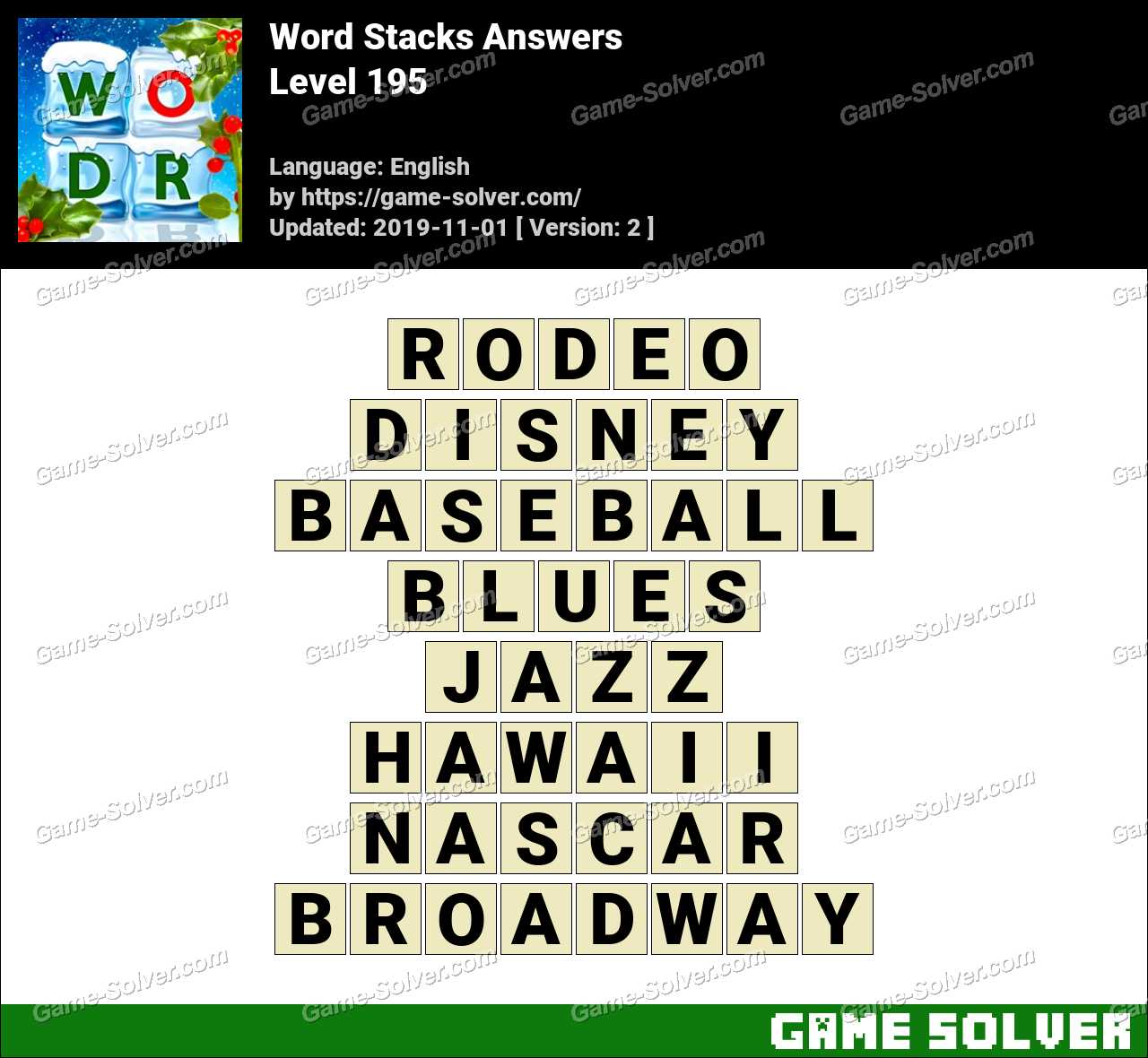 Word Stacks Level 195 Answers