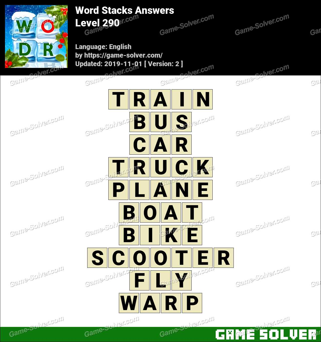Word Stacks Level 290 Answers