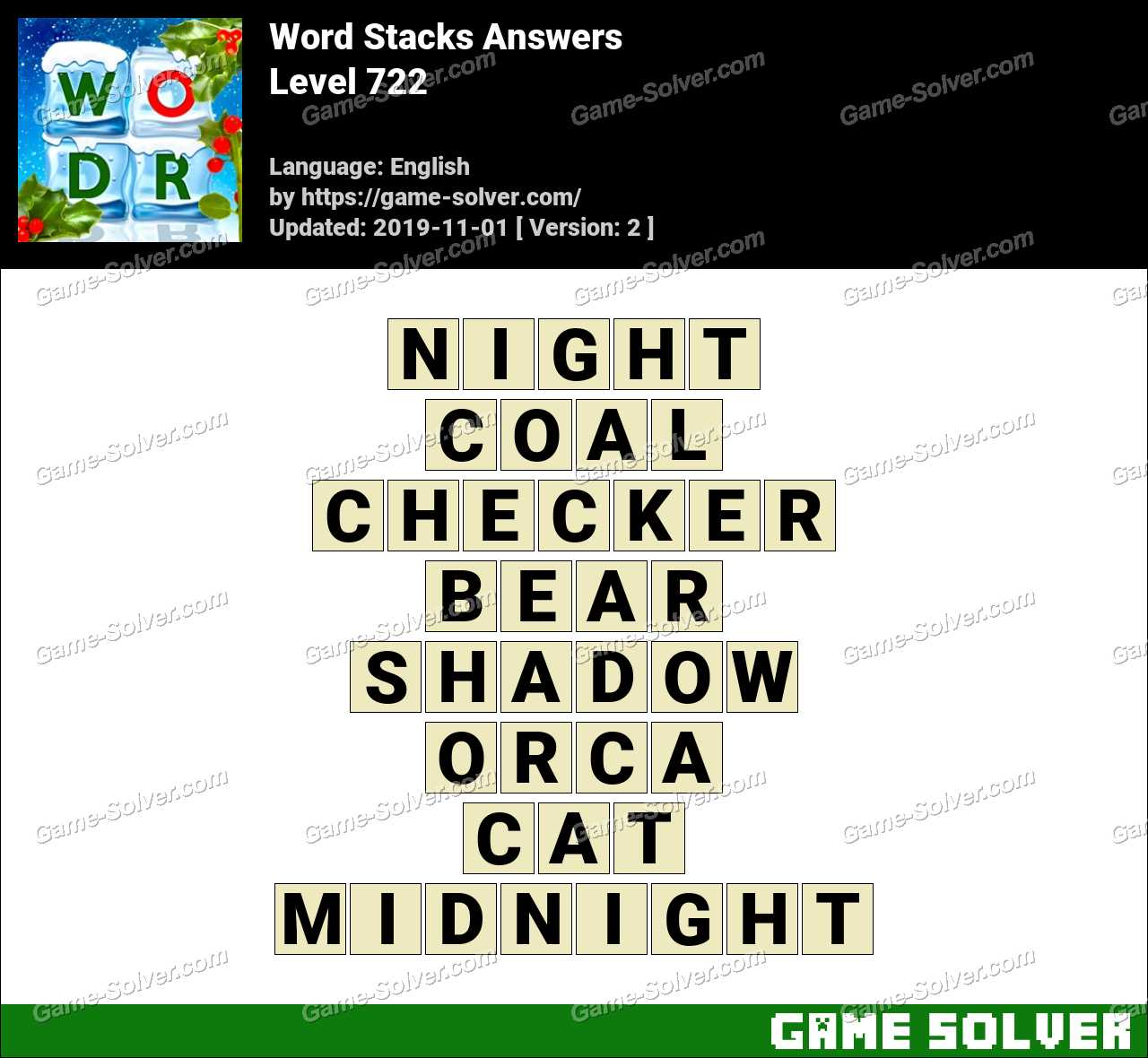 Word Stacks Level 722 Answers