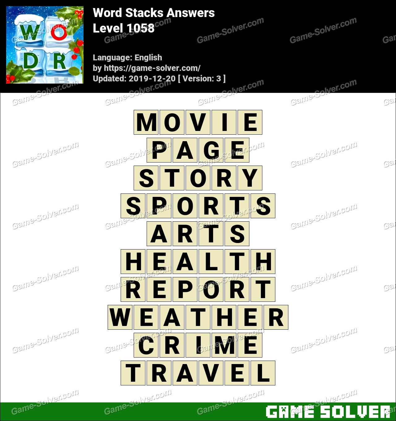 Word Stacks Level 1058 Answers