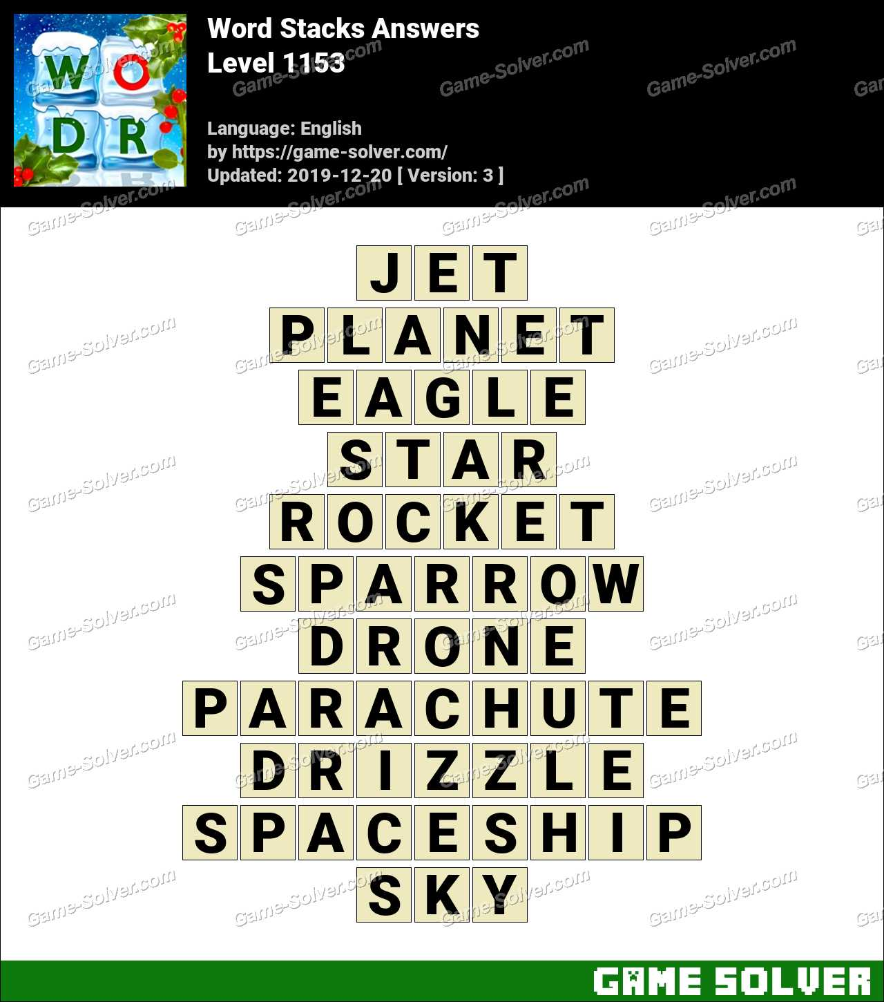 Word Stacks Level 1153 Answers