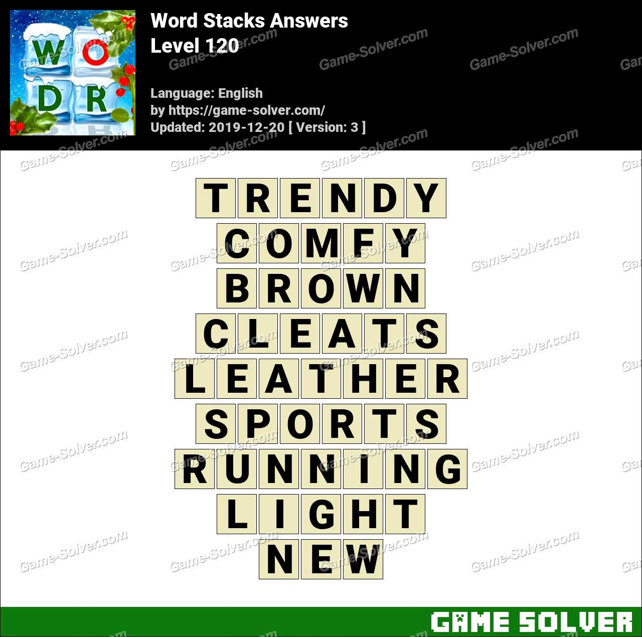 Word Stacks Level 120 Answers