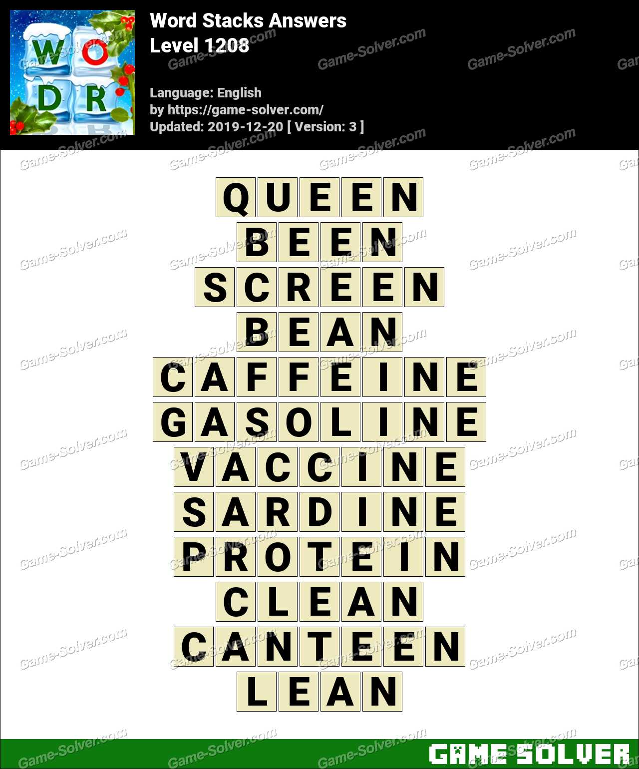 Word Stacks Level 1208 Answers