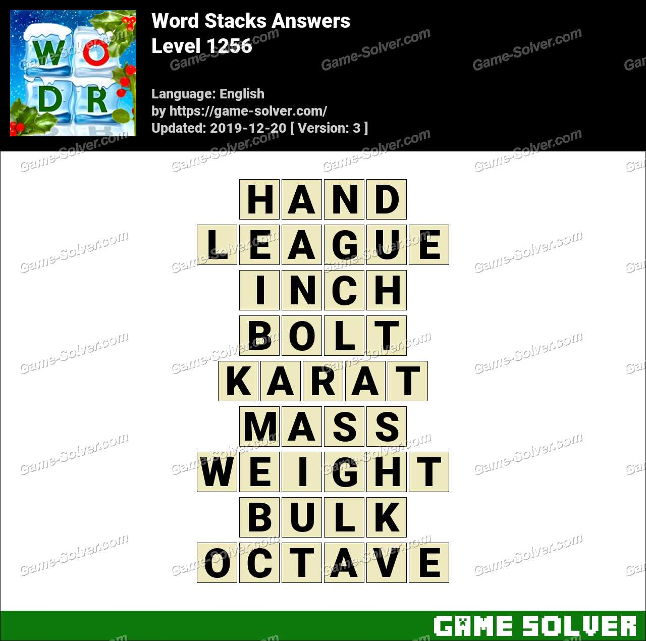 Word Stacks Level 1256 Answers
