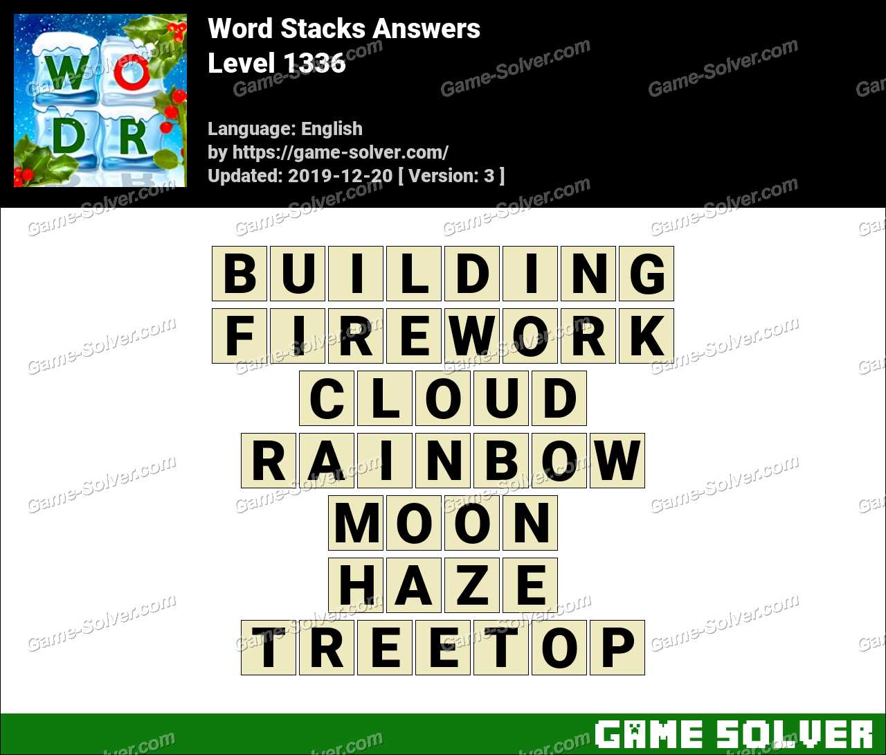 Word Stacks Level 1336 Answers