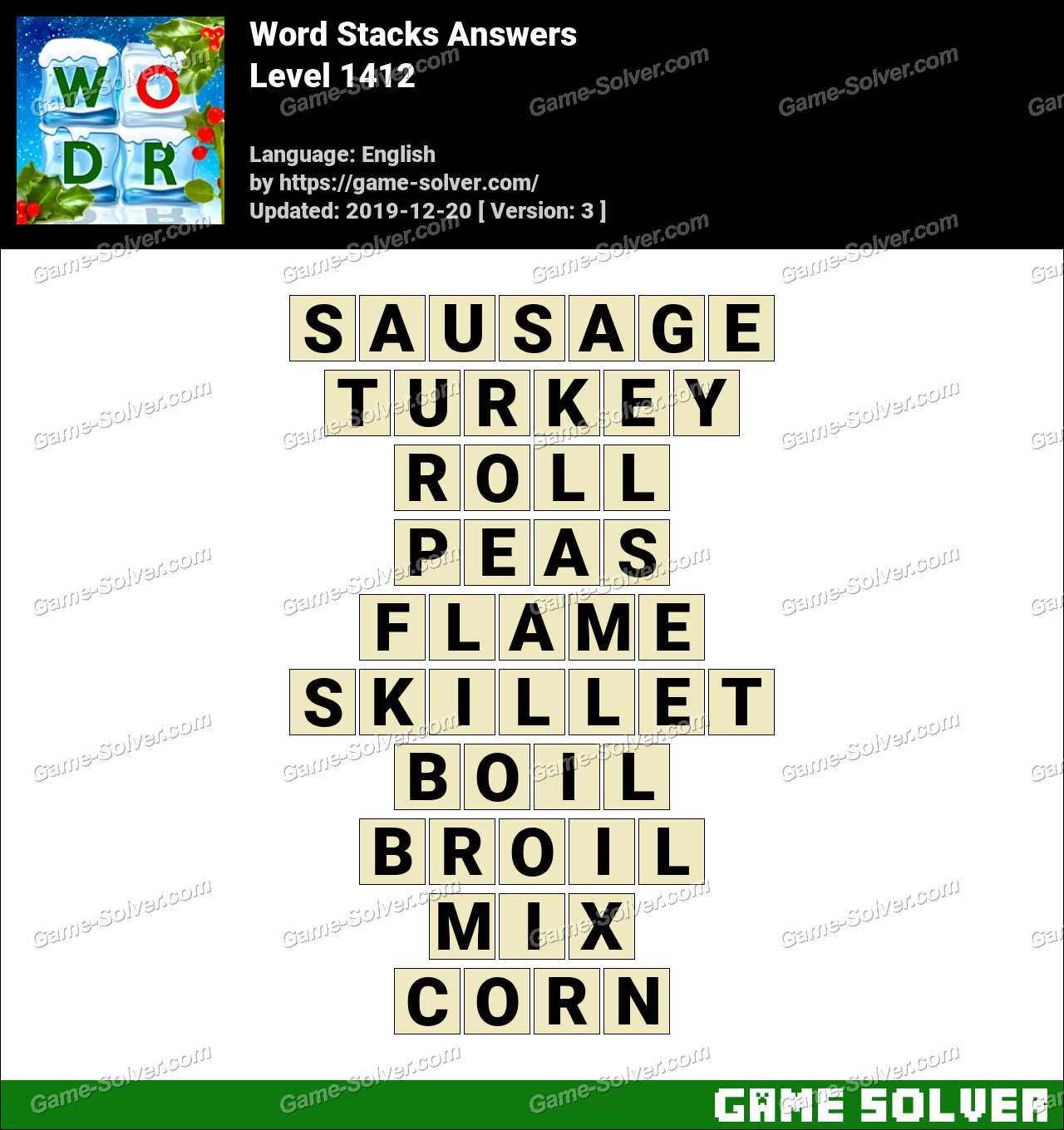 Word Stacks Level 1412 Answers