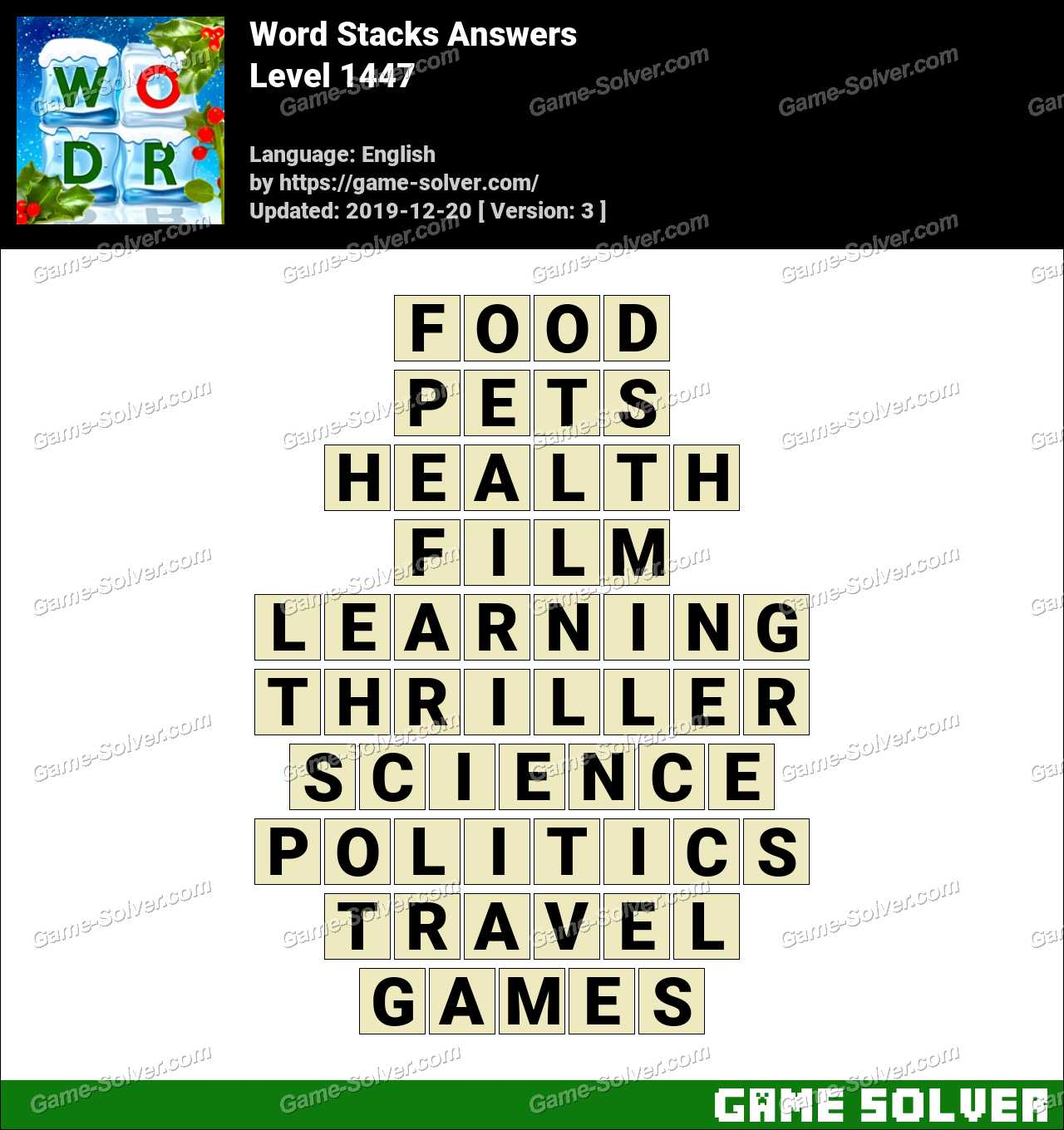 Word Stacks Level 1447 Answers