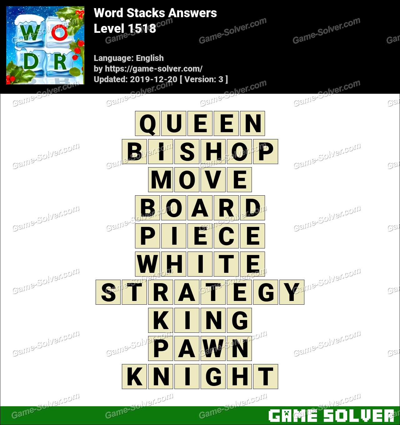 Word Stacks Level 1518 Answers