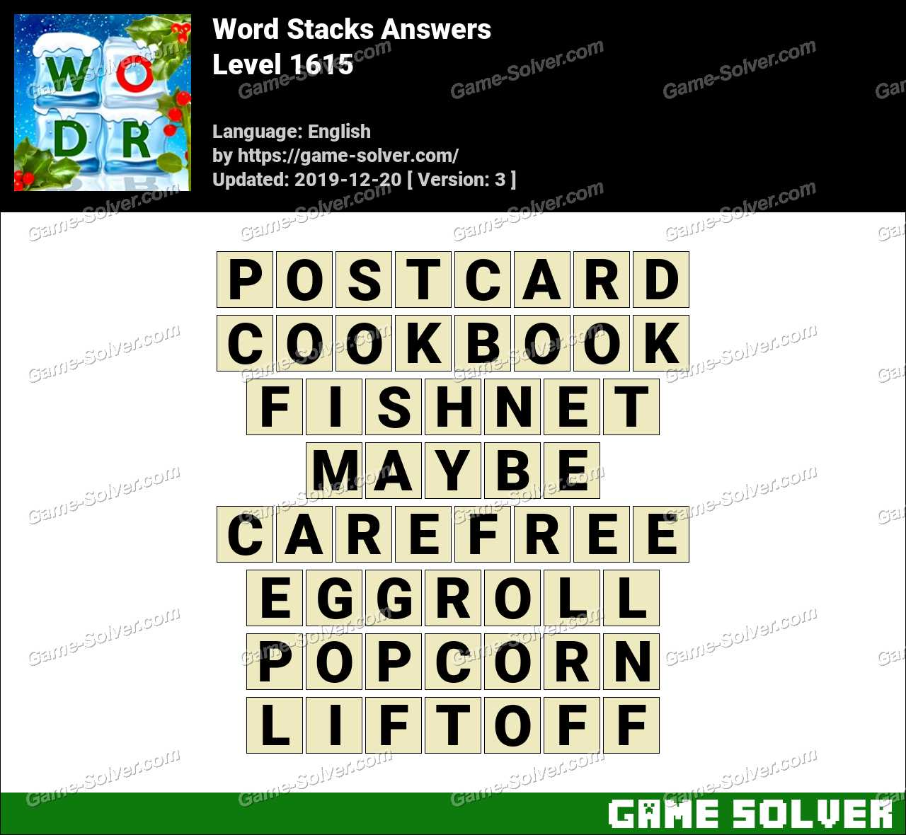 Word Stacks Level 1615 Answers