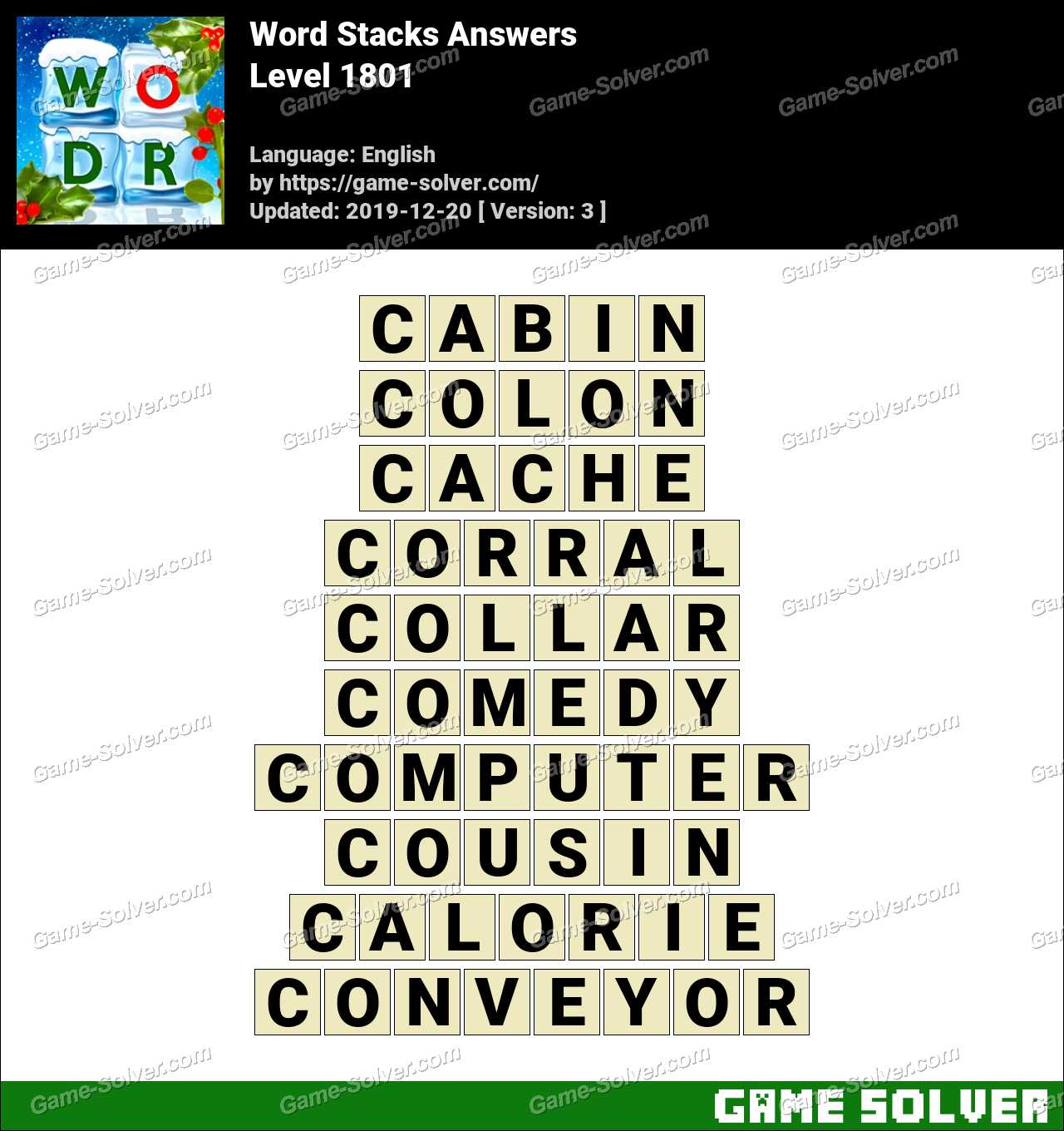Word Stacks Level 1801 Answers