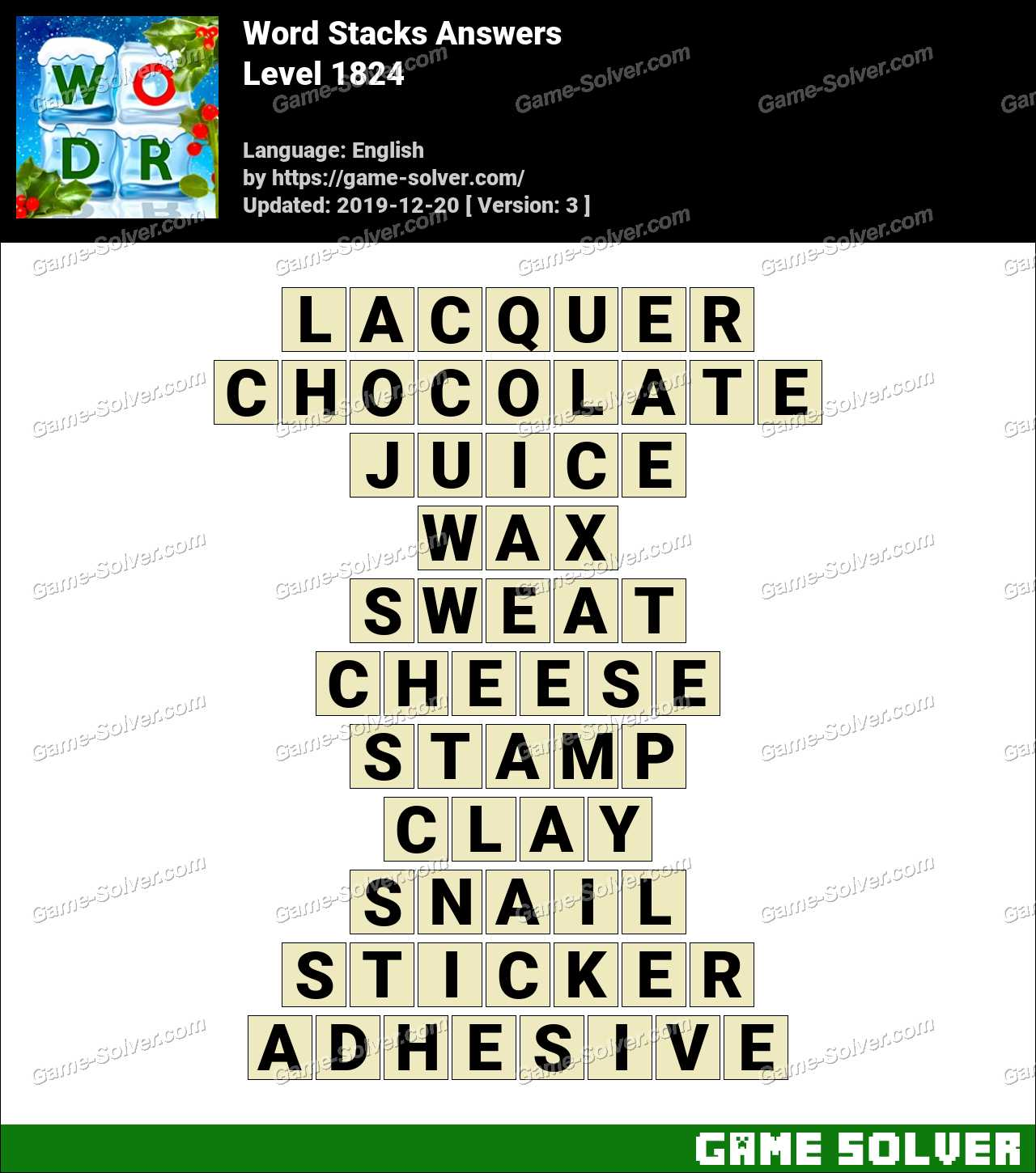 Word Stacks Level 1824 Answers