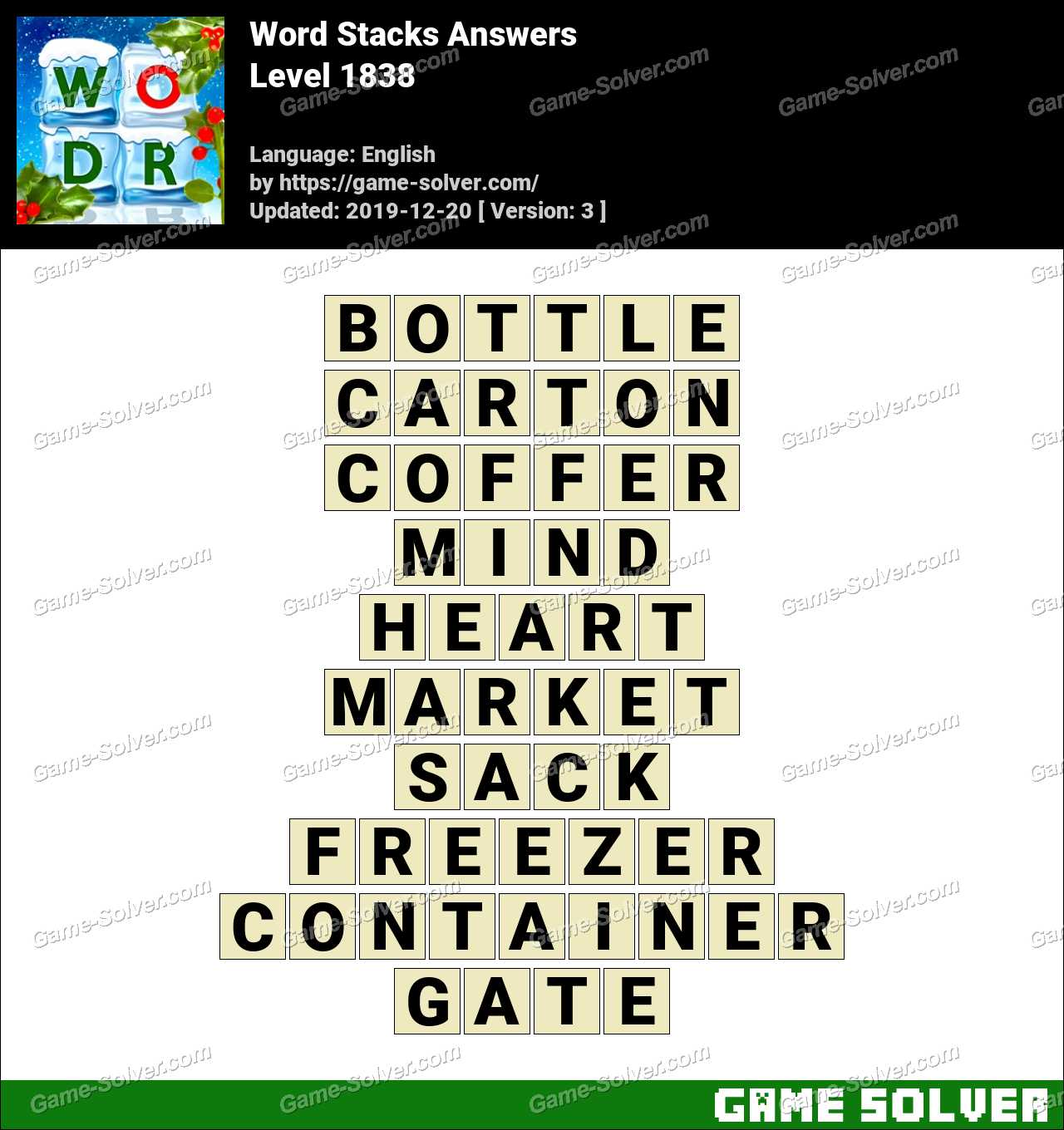 Word Stacks Level 1838 Answers